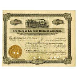 Loop & Lookout Railroad Co., 1927 Issued Stock Certificate