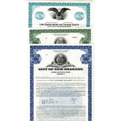 City of New Orleans Specimen Bond Trio ca.1960-70's.