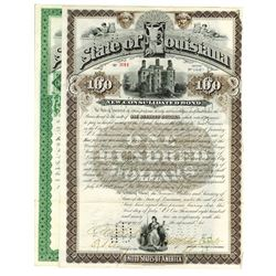 State of Louisiana. 1892 Issued Bond Pair signed by Murphy Foster as Governor.