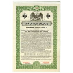City of New Orleans, 1939 Specimen Bond.