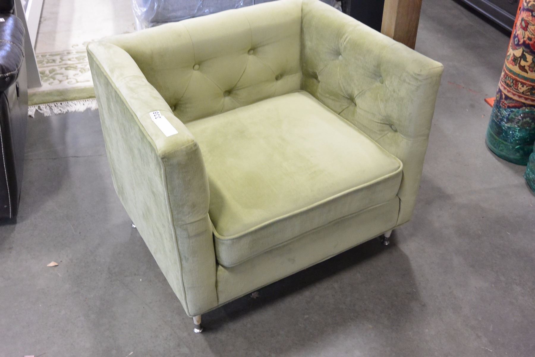 Image 1 : NEW SEARS HOME TUFTED MODERN GREEN FABRIC ACCENT CHAIR RETAIL  $399 ...