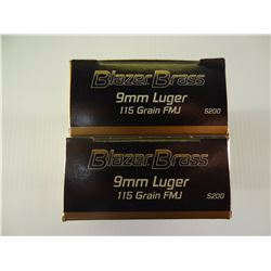 100  ROUNDS BLAZER 9MM 115 GRAIN FMJ