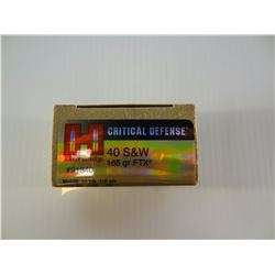 20 ROUNDS HORNADY CIRCUITAL DEFENCE .40 S& W 165 GRAIN FTX