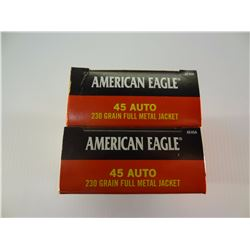 100 ROUNDS AE .45 AUTO 230 GRAIN FMJ