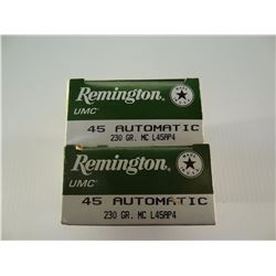 100 ROUNDS REMINGTON .45 AUTO 230 GRAIN FMJ