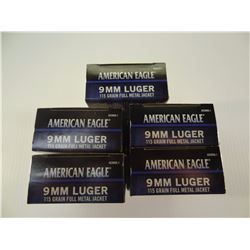 250 ROUNDS AE 9MM 115 GRAIN FMJ