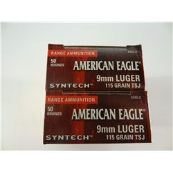 100 ROUNDS AE 9MM SYNTECH 115 GRAIN TSJ