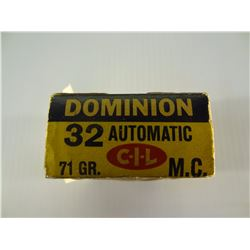 42 ROUNDS DOMINION .32 AUTO 71 GRAIN FMJ