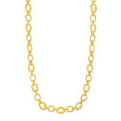 Shiny and Textured Oval Link Necklace in 14K Yellow Gold