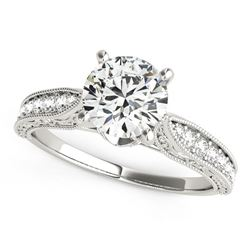 14K White Gold Round Pronged Antique Design Diamond Engagement Ring (1 5/8 ct. tw.)