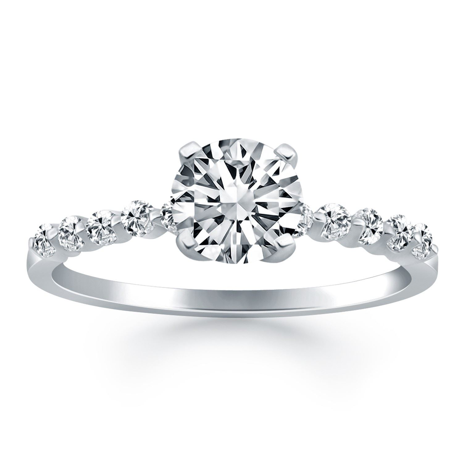set engagement band diamond product cathedral bridal wedding shared prong rings ring