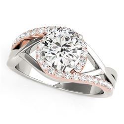 14K White And Rose Gold Bypass Open Shank Halo Diamond Engagement Ring (1 1/4 ct. tw.)
