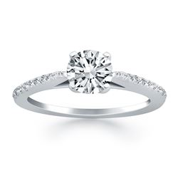 14K White Gold Micro Prong Diamond Cathedral Engagement Ring