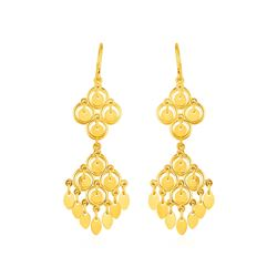 Chandelier Earrings with Polished Drops in 10K Yellow Gold