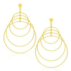 14K Yellow Gold Graduated Textured Circle Earrings