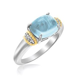 18K Yellow Gold & Sterling Silver Polished Blue Topaz and Diamond Ring