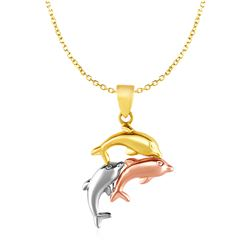 Pendant with Three Dolphins in 10K Tri Color Gold