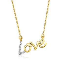 14K Yellow Gold 18 inch Necklace with Gold and Diamond Love Symbol