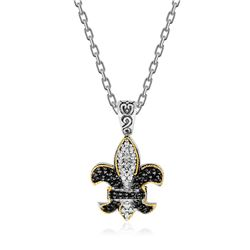18K Yellow Gold & Sterling Silver Fleur De Lis Pendant with Two Tone Sapphires