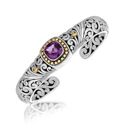 18K Yellow Gold and Sterling Silver Baroque Style Cushion Amethyst Cuff Bangle