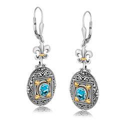 18K Yellow Gold and Sterling Silver Fleur De Lis Accent Blue Topaz Drop Earrings