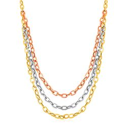 Three Strand Oval Link Necklace in 14K Tri Color Gold
