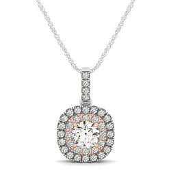 14K White And Rose Gold Cushion Shape Halo Diamond Pendant (1/2 ct. tw.)
