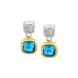 18K Yellow Gold and Sterling Silver Drop Earrings with Bezel Set Blue Topaz