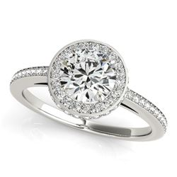 14K White Gold Round Diamond Engagement Ring with Pave Set Halo (1 1/2 ct. tw.)