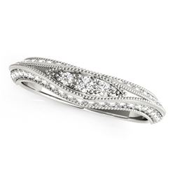 14K White Gold Curved Antique Style Diamond Wedding Ring (1/3 ct. tw.)