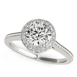 14K White Gold Classic Channel Slim Shank Round Diamond Engagement Ring (2 ct. tw.)
