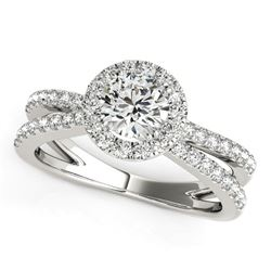 14K White Gold Round Diamond Engagement Ring with Split Shank Design (1 1/2 ct. tw.)