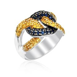 Sterling Silver Knot Style Ring with Blue and Yellow Sapphires
