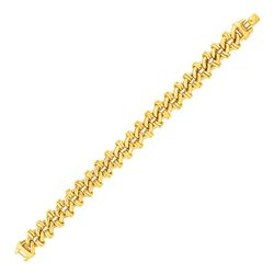 Oval Link Bracelet with Link Details in 14K Yellow Gold