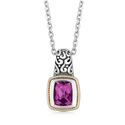 18K Yellow Gold and Sterling Silver Necklace with Milgrained Amethyst Pendant