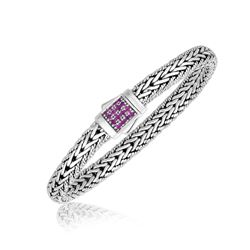 Sterling Silver Pink Tone Sapphire Accented Braided Men's Bracelet
