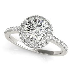 14K White Gold Classic Round Diamond Pave Design Engagement Ring (1 1/2 ct. tw.)