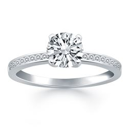 14K White Gold Engagement Ring with Diamond Channel Set Band