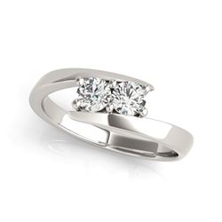 14K White Gold Round Two Stone Common Prong Diamond Ring (1/2 ct. tw.)