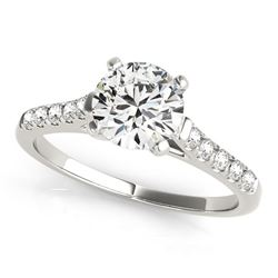 14K White Gold Cathedral Design Round Pronged Diamond Engagement Ring (1 1/8 ct. tw.)