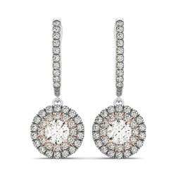 14K White And Rose Gold Drop Diamond Earrings with a Double Round Halo Design (3/4 ct. tw.)