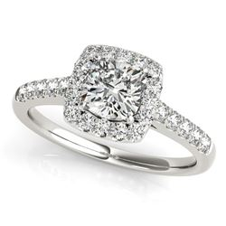 14K White Gold Square Outer Shape Round Diamond Engagement Ring (3/4 ct. tw.)