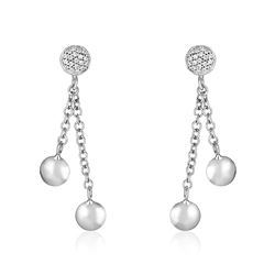 14K White Gold and Diamond Puff Circle Dangle Earrings (1/5 ct. tw.)