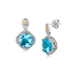 18K Yellow Gold and Sterling Silver Blue Topaz and Diamond Earrings