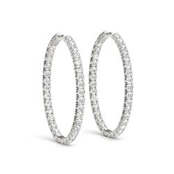 Oval Shape Two Sided Diamond Hoop Earrings in 14K White Gold (2 ct. tw.)