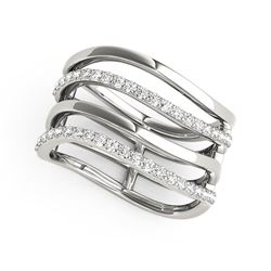 14K White Gold Multiple Band Design Ring with Diamonds (3/8 ct. tw.)