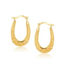 10K Yellow Gold Fancy Oval Hoop Earrings
