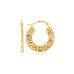 10K Yellow Gold Greek Key Small Hoop Earrings