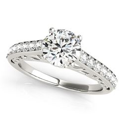 14K White Gold Unique Detailing Single Row Round Diamond Engagement Ring (1 1/3 ct. tw.)