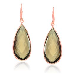 Sterling Silver Rose Gold Plated Teardrop Smokey Quartz Earrings